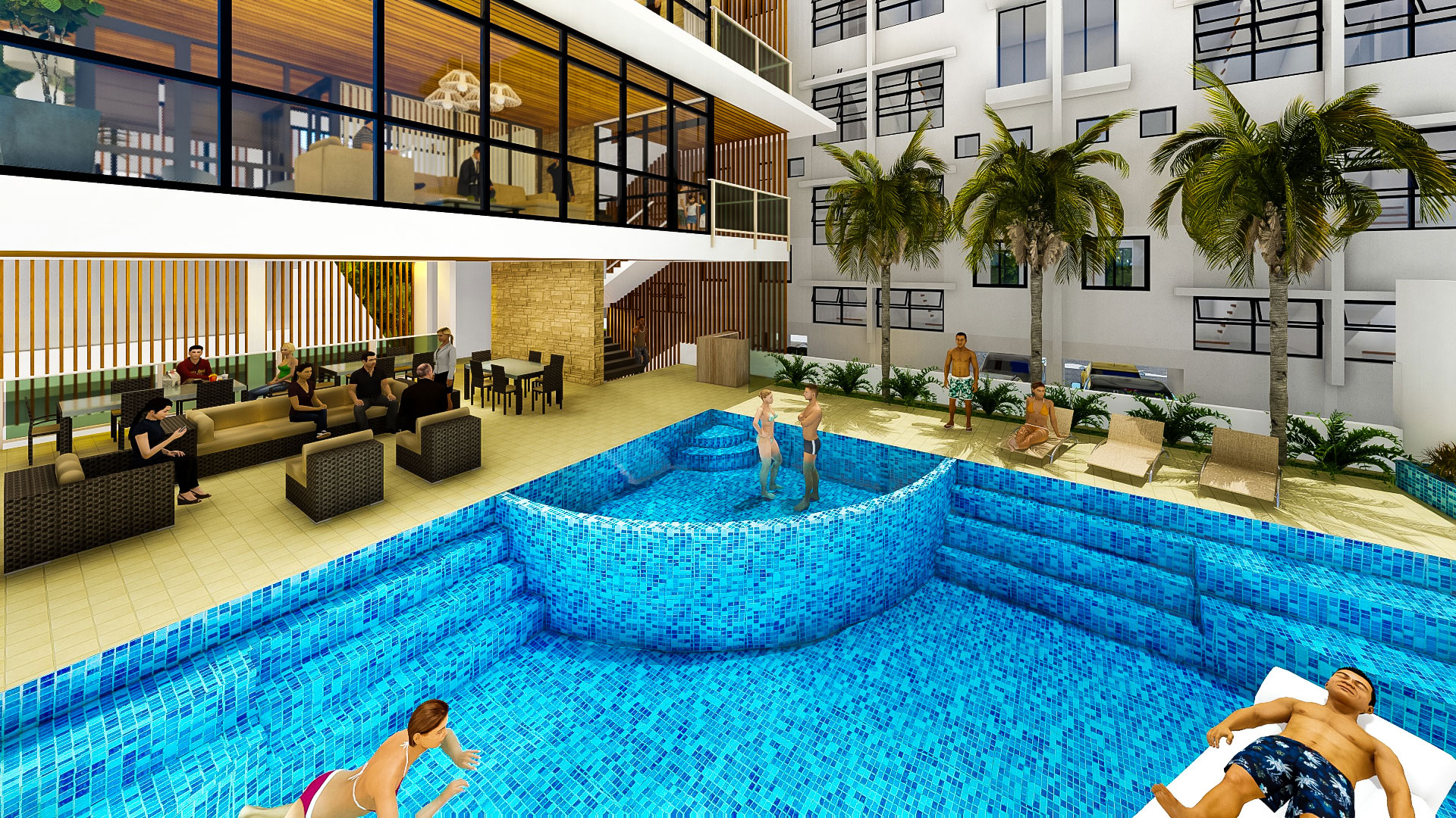 Clubhouse swimming pool phase 2 artist perspective al for Pool design pattern