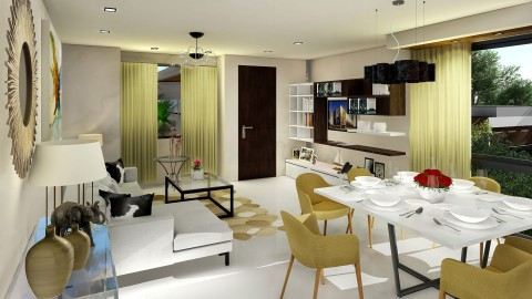 Living Area to Dining Area – Phase 2 Artist Perspective